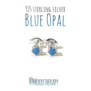 3mm blue opal stud-post earrings
